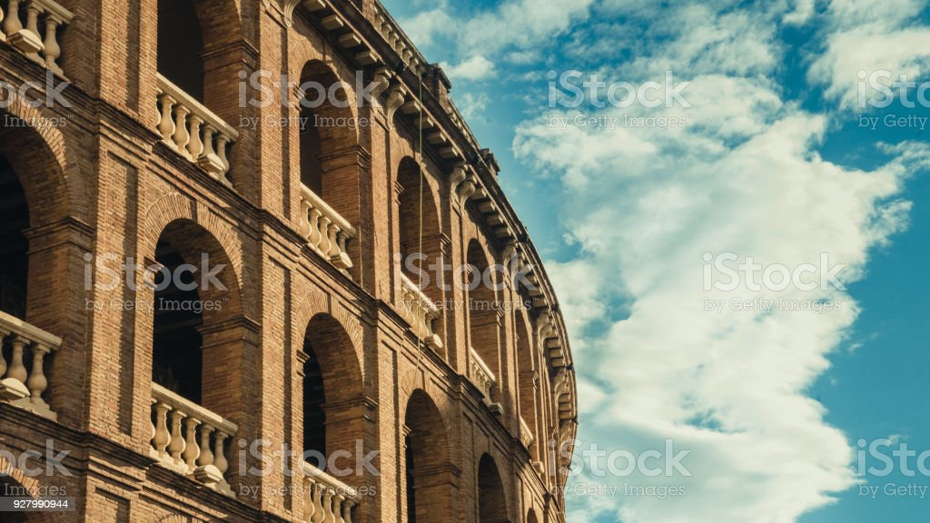 Roman architecture building with clouds stock photo