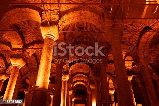 The ancient, underground Roman Basilica Cistern, (Binbirdirek Sarnıcı), in the historic Sultanahmet district of Istanbul.