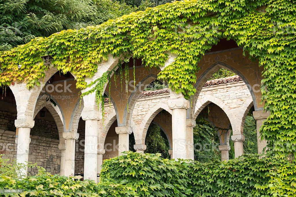Roman bath in the yard of Balchik botanical garden, Bulgaria stock photo