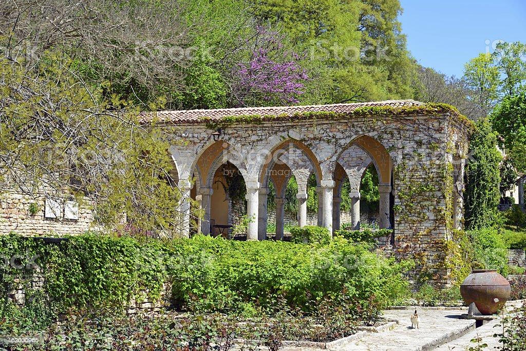 Roman bath in the yard of Balchik palace , Bulgaria stock photo