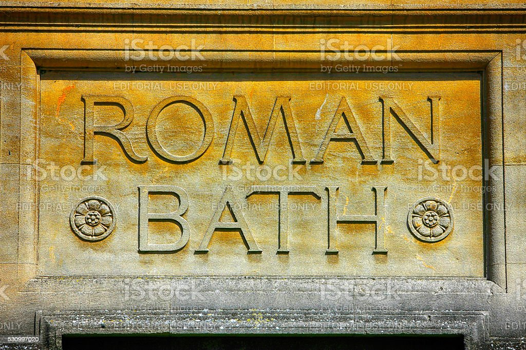 Roman Bath Sign in Bath, Somerset UK stock photo