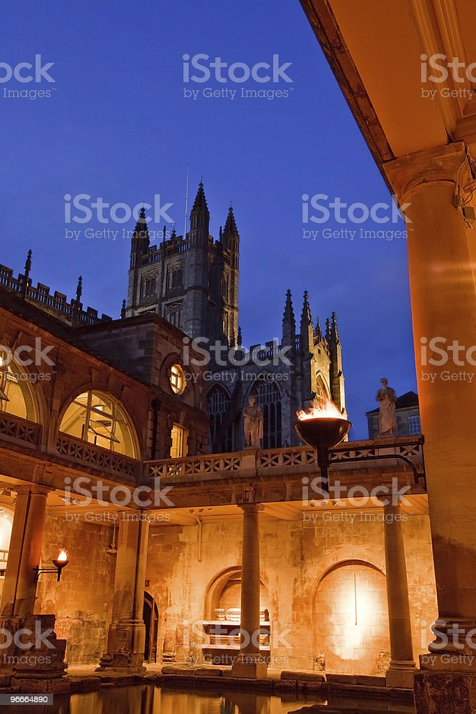 Roman Baths at Dusk stock photo