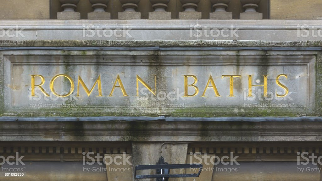 Roman Baths Carved in the Stone stock photo