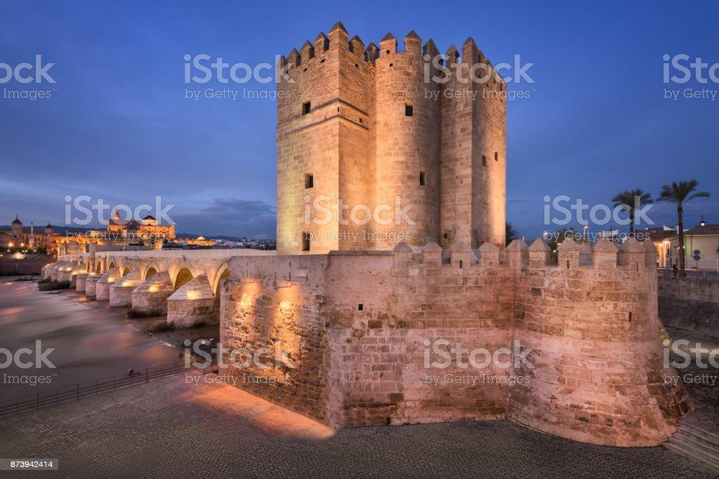 Roman Bridge and Cordoba Skyline in the Evening, Andalusia, Spain stock photo