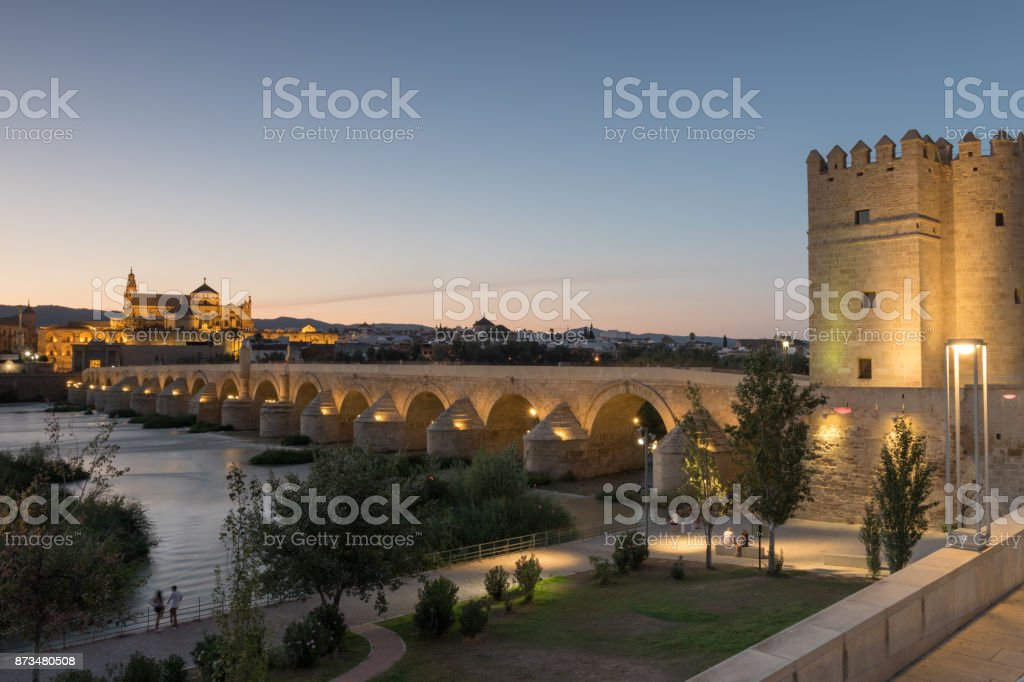 Roman Bridge and Guadalquivir river, Great Mosque, Cordoba, Spain stock photo