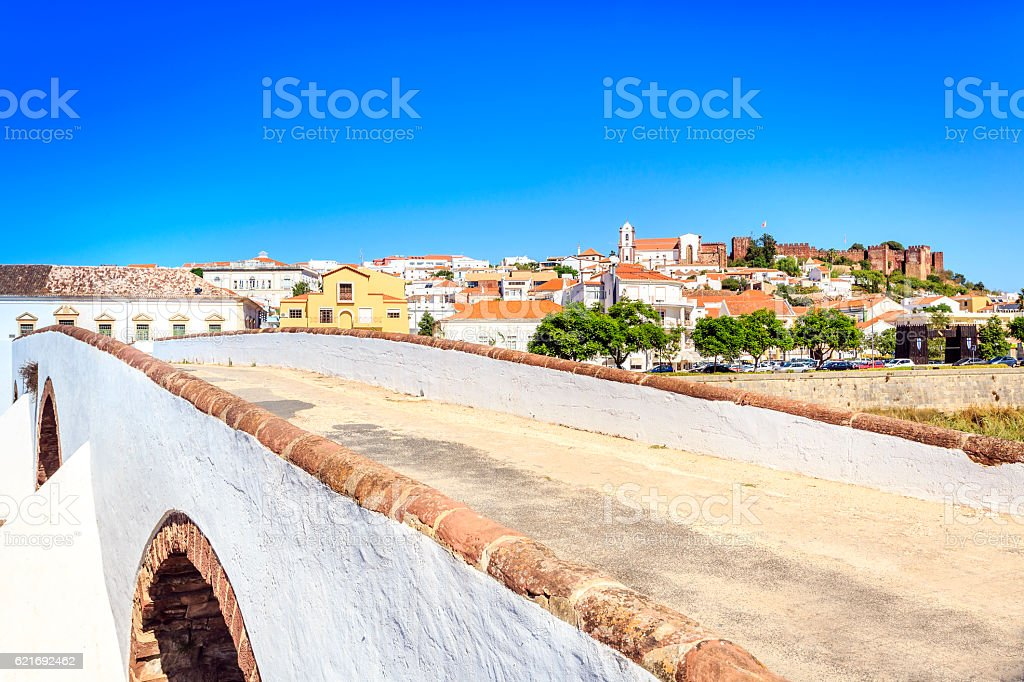 Roman bridge and medieval castle in Silves, Portugal stock photo