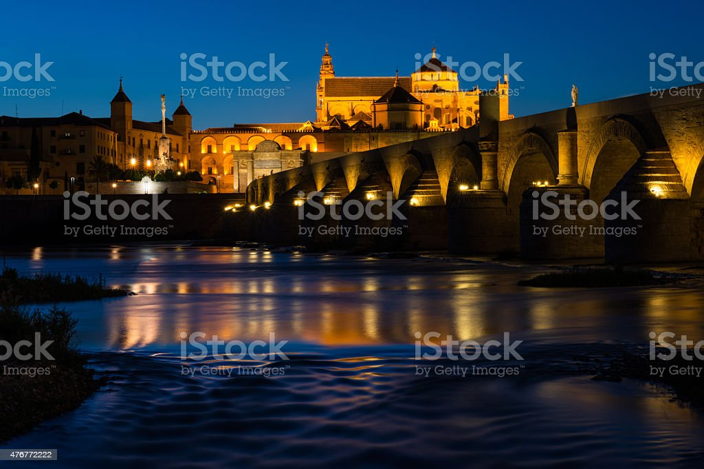 Roman bridge and Mosque-Cathedral in Cordoba stock photo