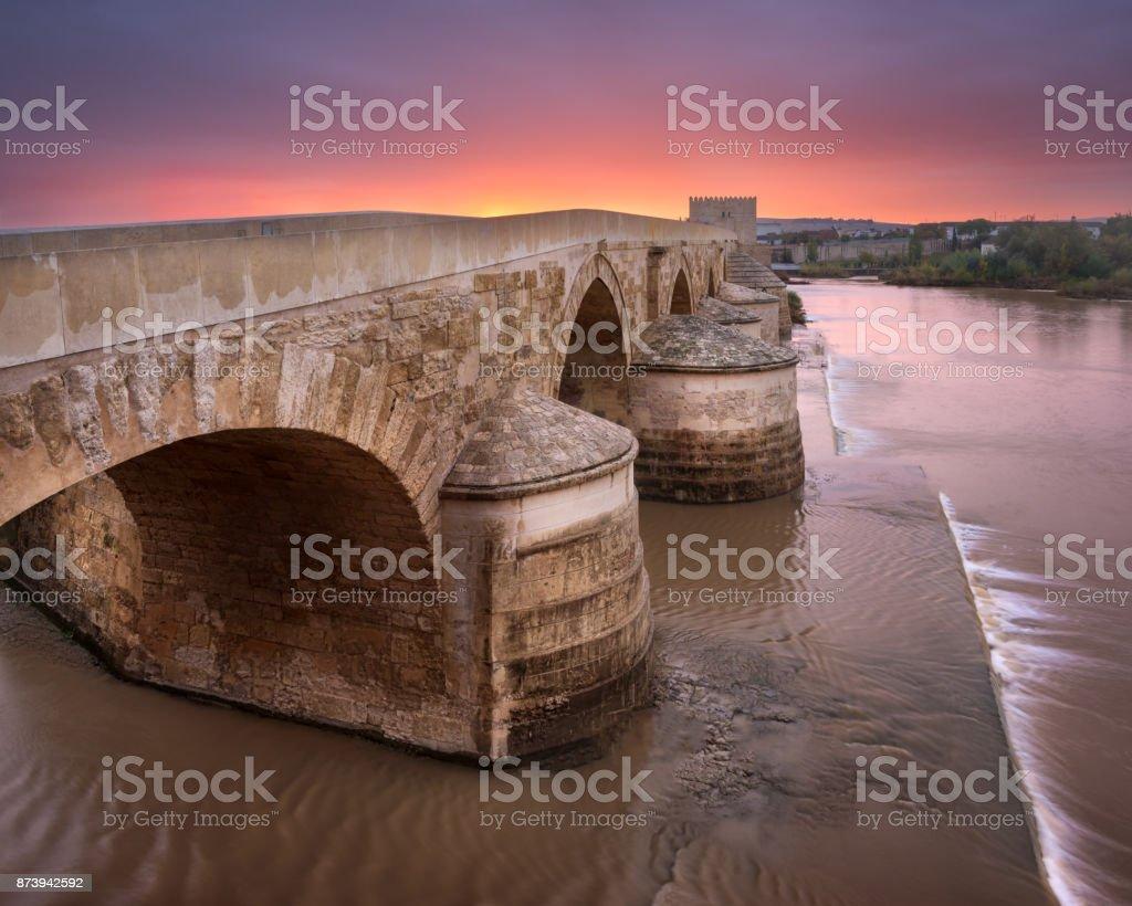 Roman Bridge at Sunrise, Cordoba, Andalusia, Spain stock photo