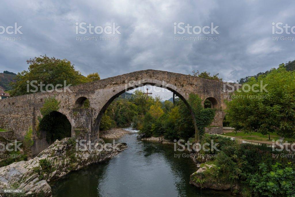 Roman bridge in Cangas de Onis. stock photo