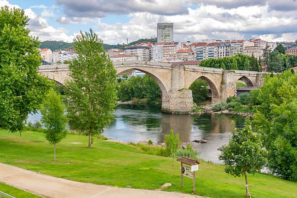 Roman bridge in Ourense stock photo