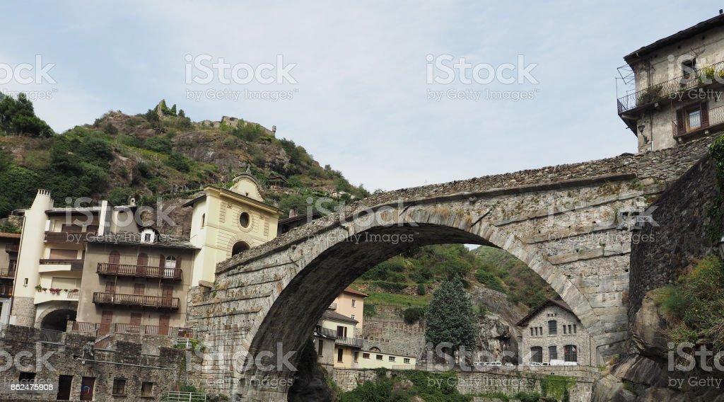 Roman bridge in Pont Saint Martin stock photo