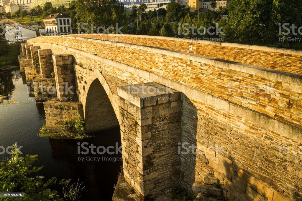 Roman bridge in the evening stock photo
