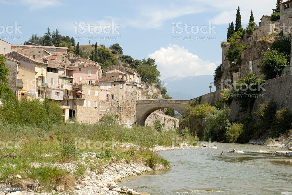 Roman bridge in Vaison la Romaine, France stock photo