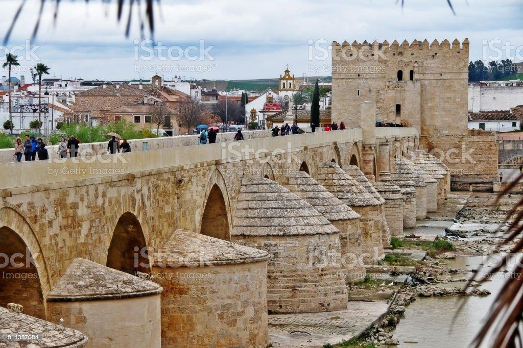 Roman bridge of Cordoba, a bridge in the Historic centre of Cordoba across the Guadalquivir, Cordoba (Cordova), Andalusia, Southern Spain stock photo