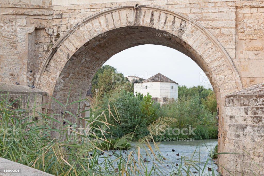 Roman bridge of Cordoba (Cordova across Guadalquivir river, Spain stock photo