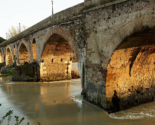 Roman bridge of Ponte Milvio stock photo