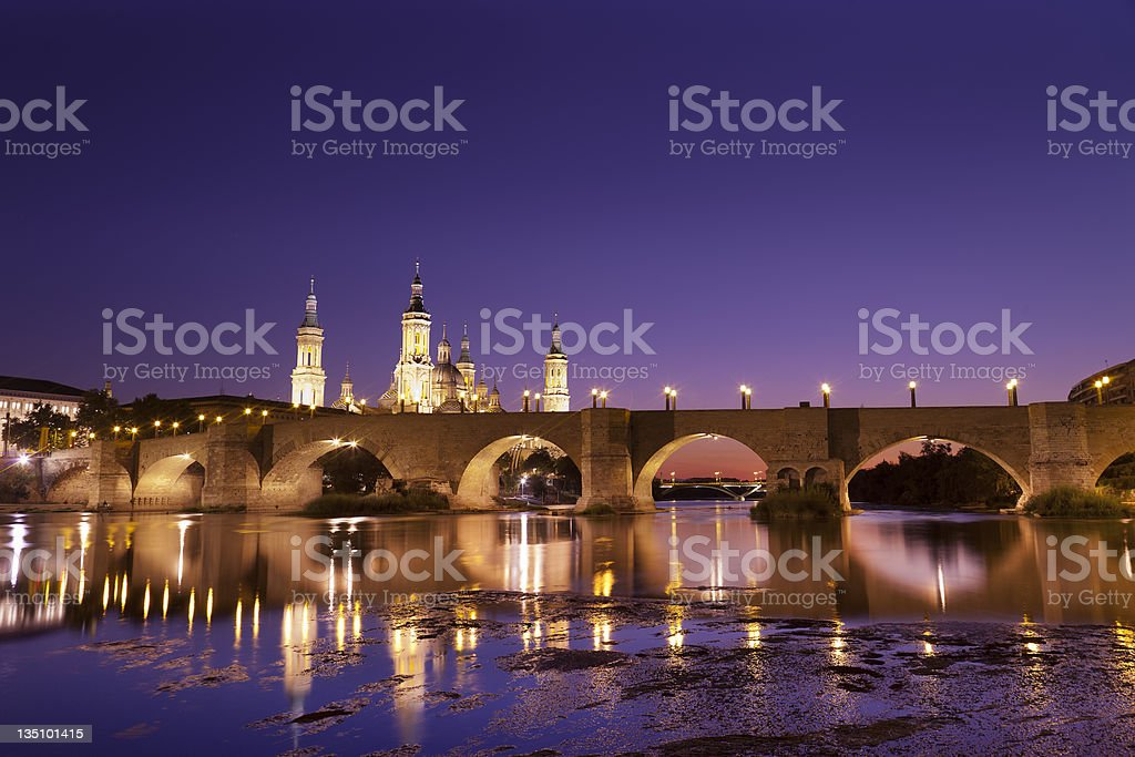Roman bridge over Ebro river (Zaragoza,Spain) stock photo