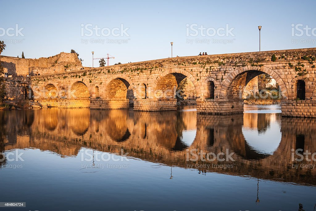 Roman bridge over the Guadiana River in Merida, Spain stock photo