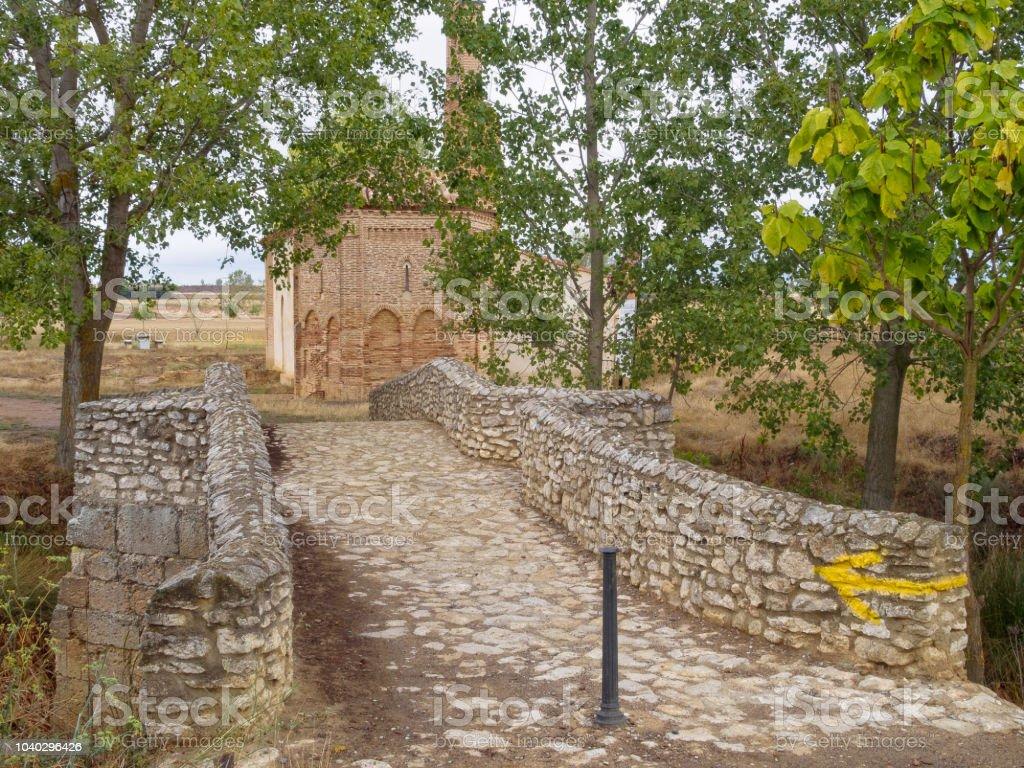 Roman bridge - Sahagun stock photo