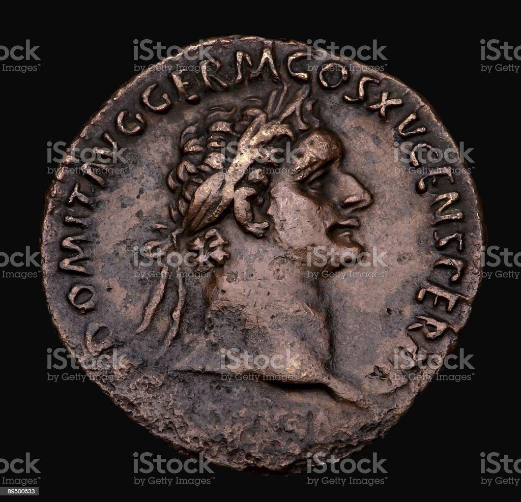 Roman bronzo Moneta Domitian foto stock royalty-free