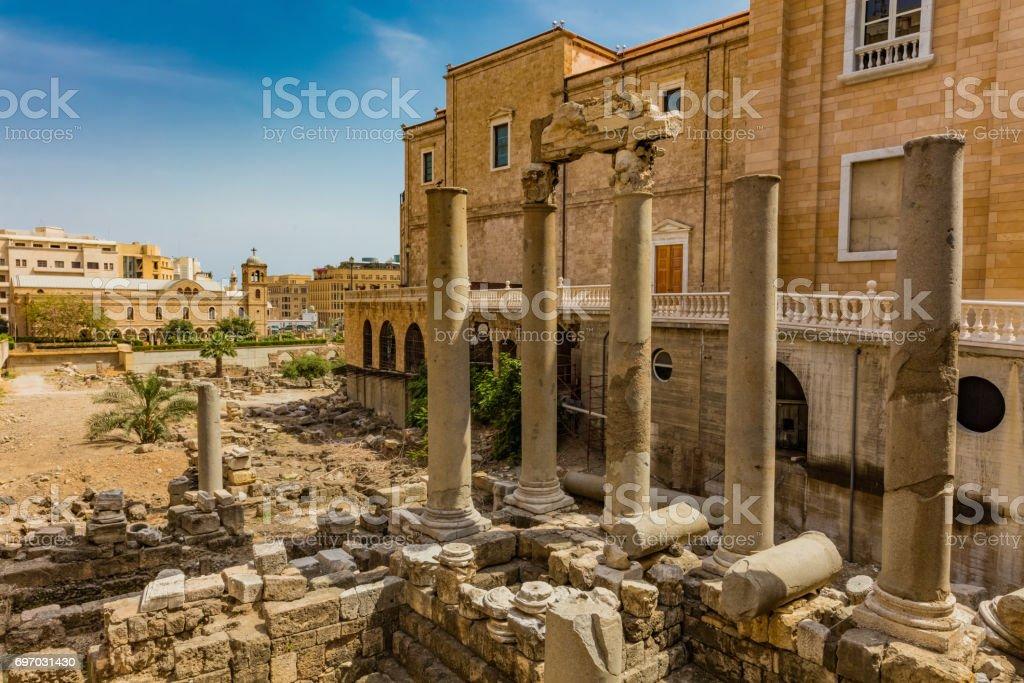 Roman Cardo Maximus ruins Beirut Lebanon stock photo