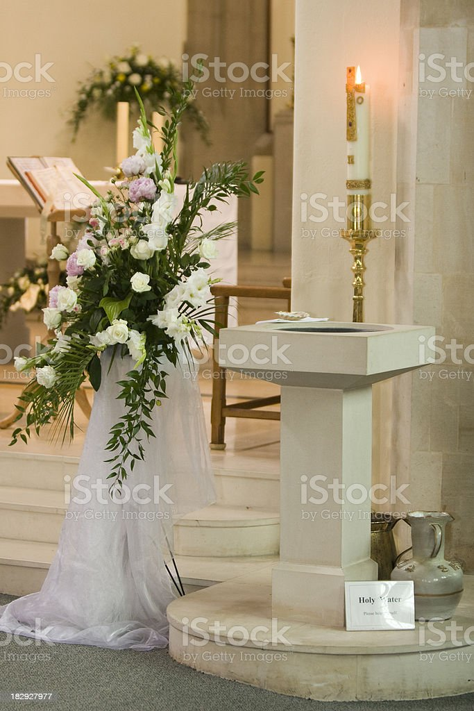 Roman Catholic Baptismal Font stock photo