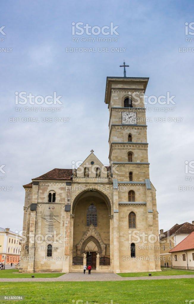 Roman catholic cathedral in the citadel of Alba Iulia, Romania stock photo