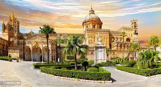 Panoramic view of the main Cathedral of the Roman Catholic Archdiocese in Palermo - Sicily