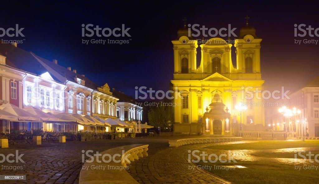 Roman Catholic Dome on Unirii Square at night, Timisoara stock photo