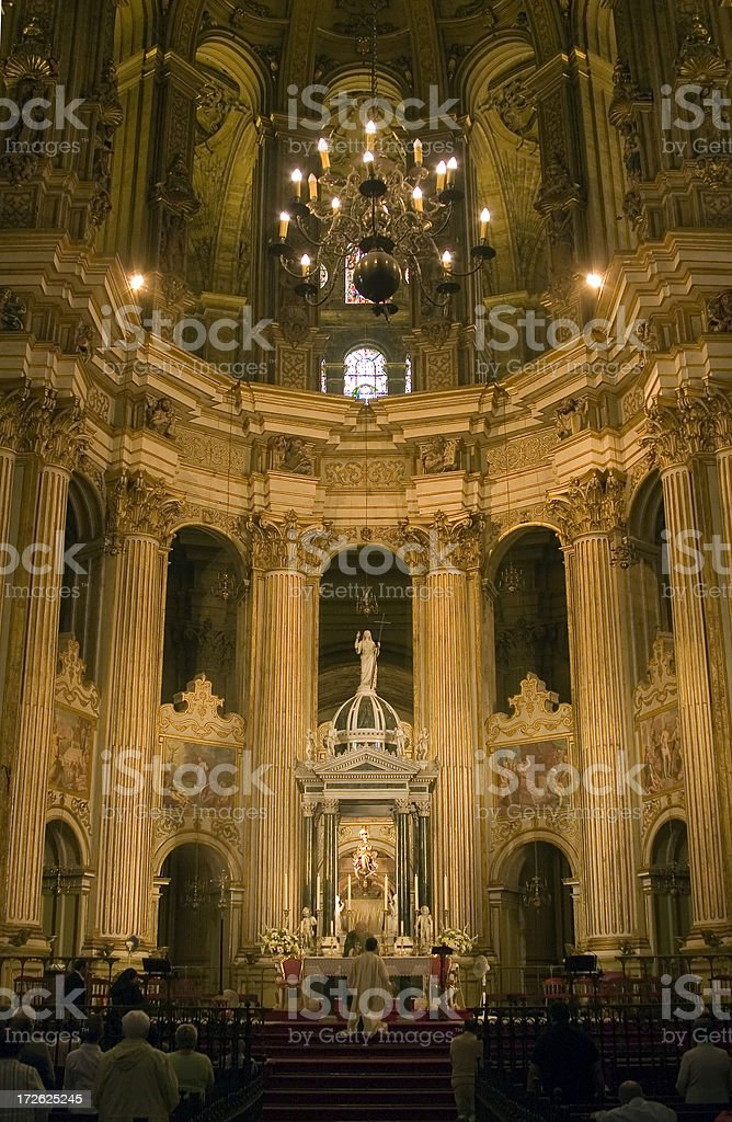 Roman Catholic service, Malaga Cathedral, Spain royalty-free stock photo
