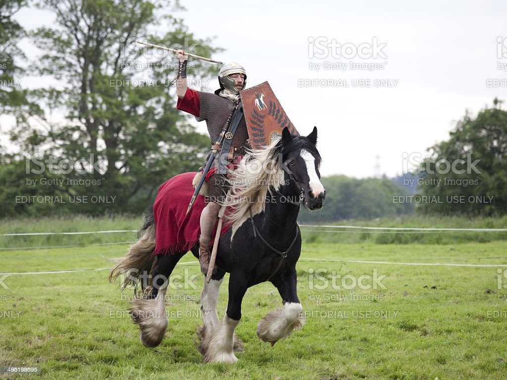 Roman Cavalry Soldier with Short Spear royalty-free stock photo