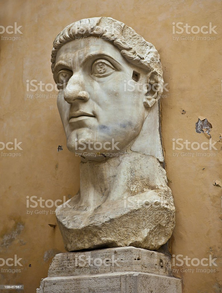 Roman Christian Contantine's head stock photo