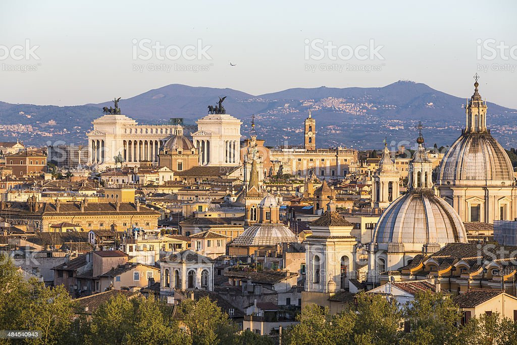 Roman citscape panorama at sunset in April, Rome Italy royalty-free stock photo