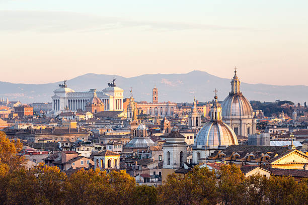 Roman citscape panorama at sunset, Rome Italy Roman citscape panorama at sunset, Rome Italy rome italy stock pictures, royalty-free photos & images