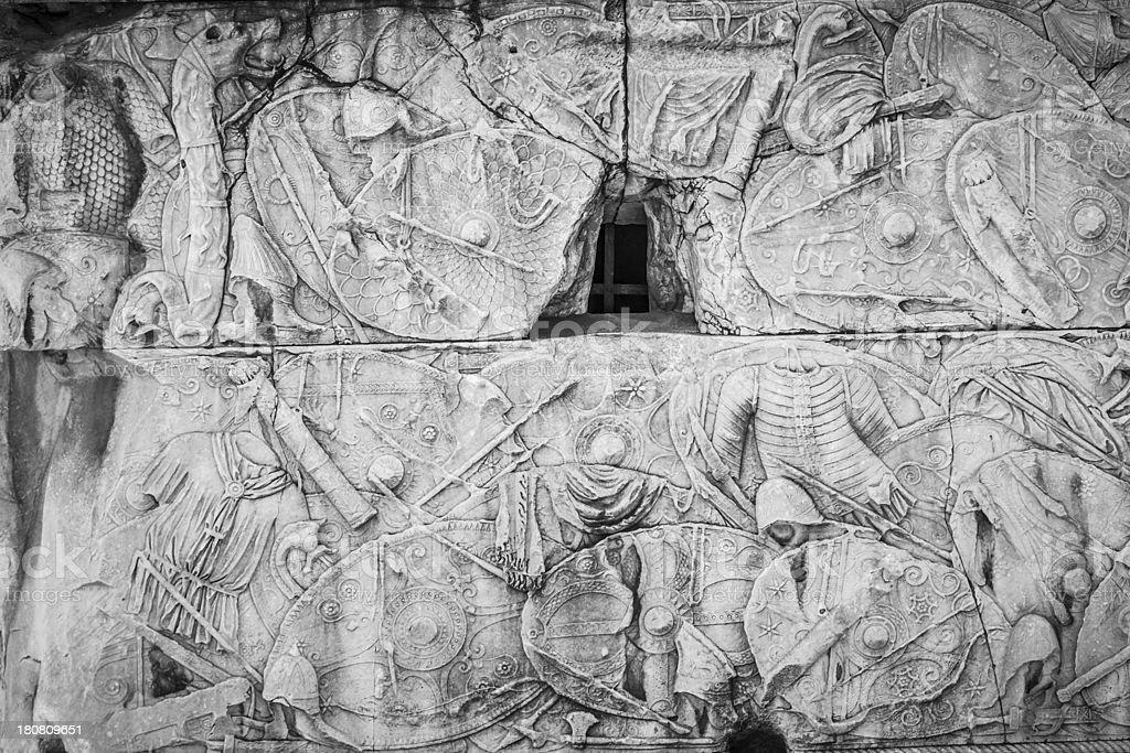 Roman coat of arms on the Trajan column royalty-free stock photo