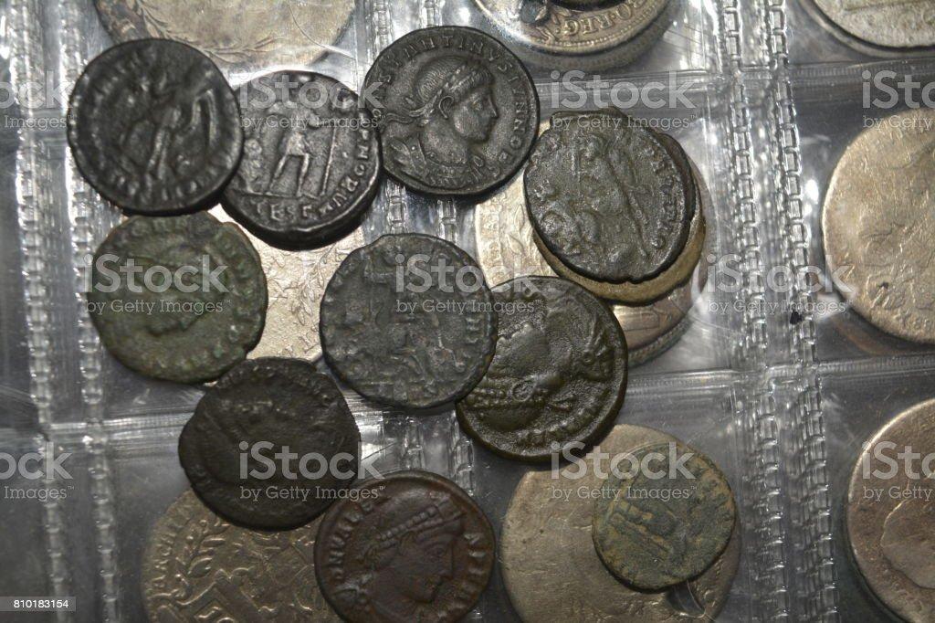 roman coins stock photo