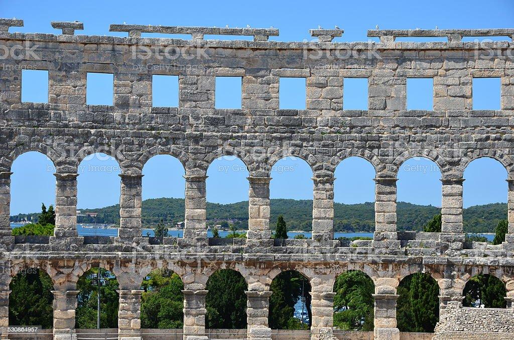 roman coliseum, amphitheatre in Pula, Istria, Croatia stock photo
