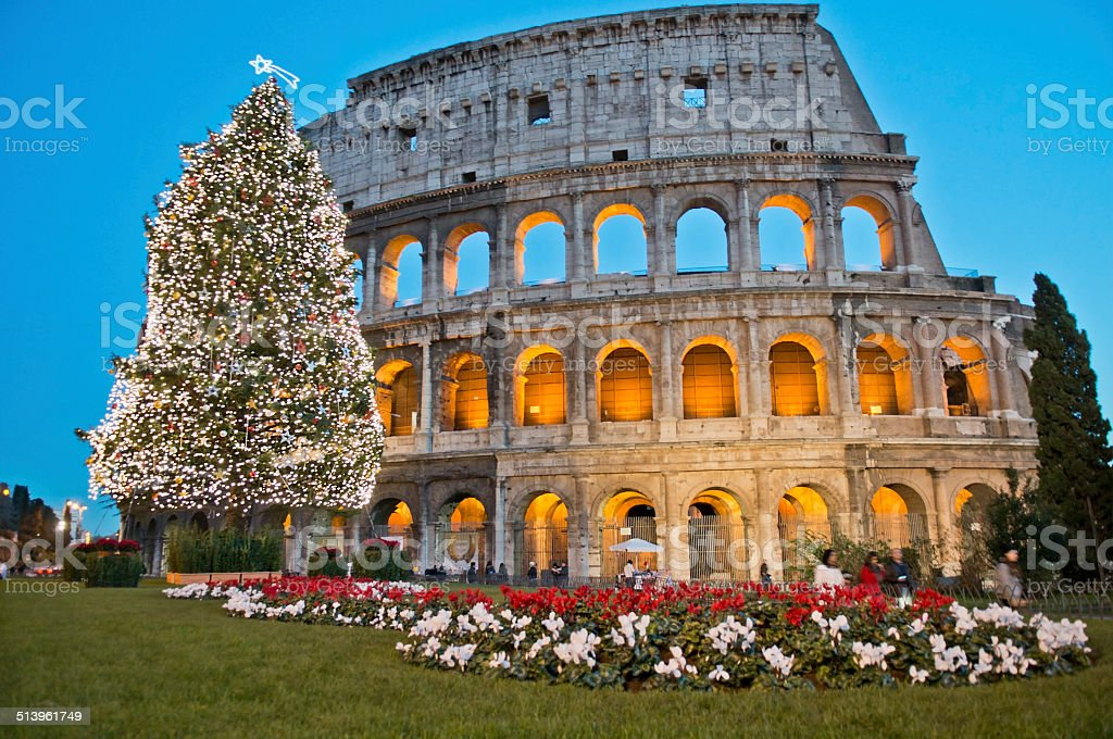 Roman Coliseum celebrates Christmas stock photo
