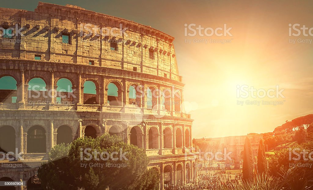 Roman Coliseum of the most popular travel place in world stock photo