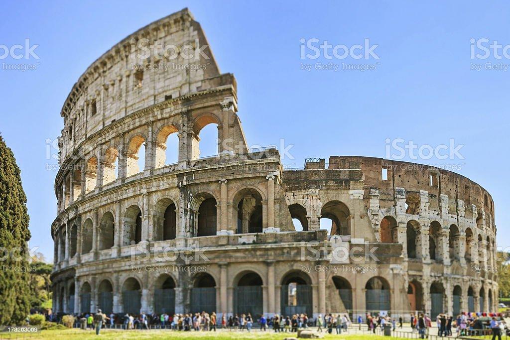 Roman Colosseum architecture landmark, tilt shift photography. Rome, Italy royalty-free stock photo