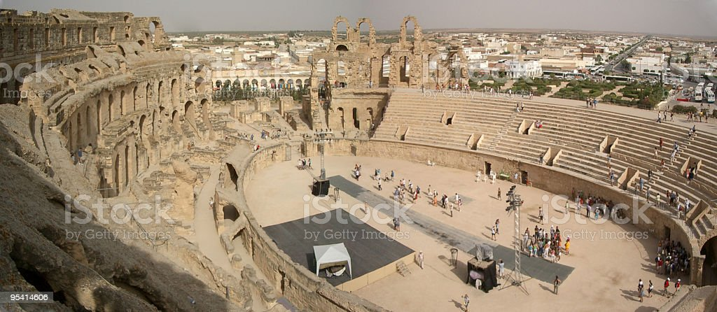 Roman Colosseum in El Djem stock photo