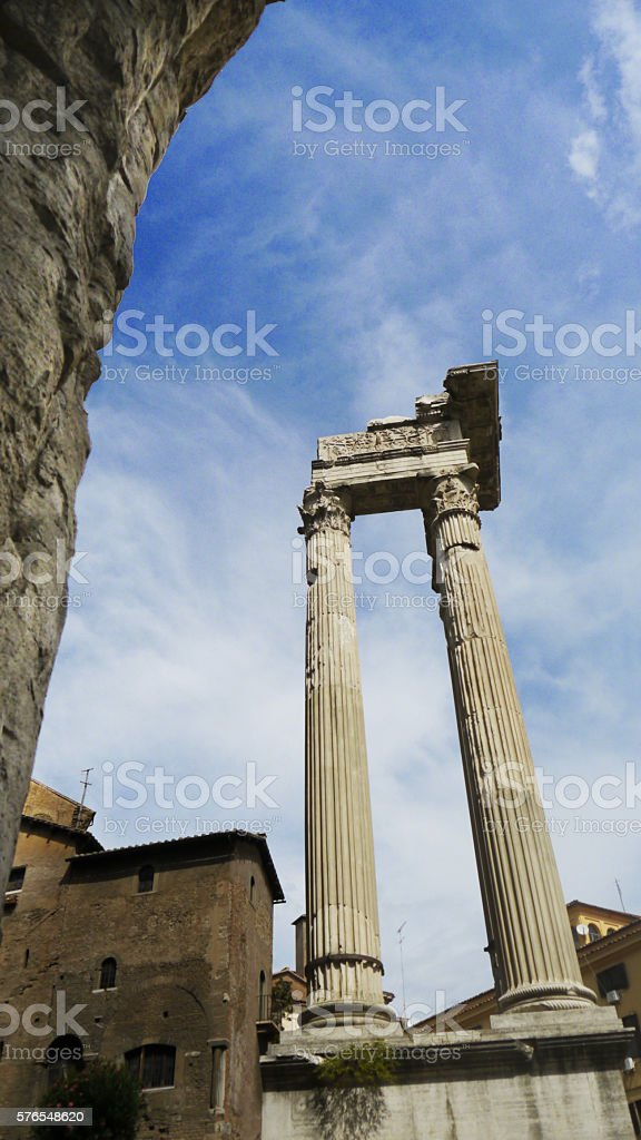 Roman Column at Theater of Marcellus stock photo