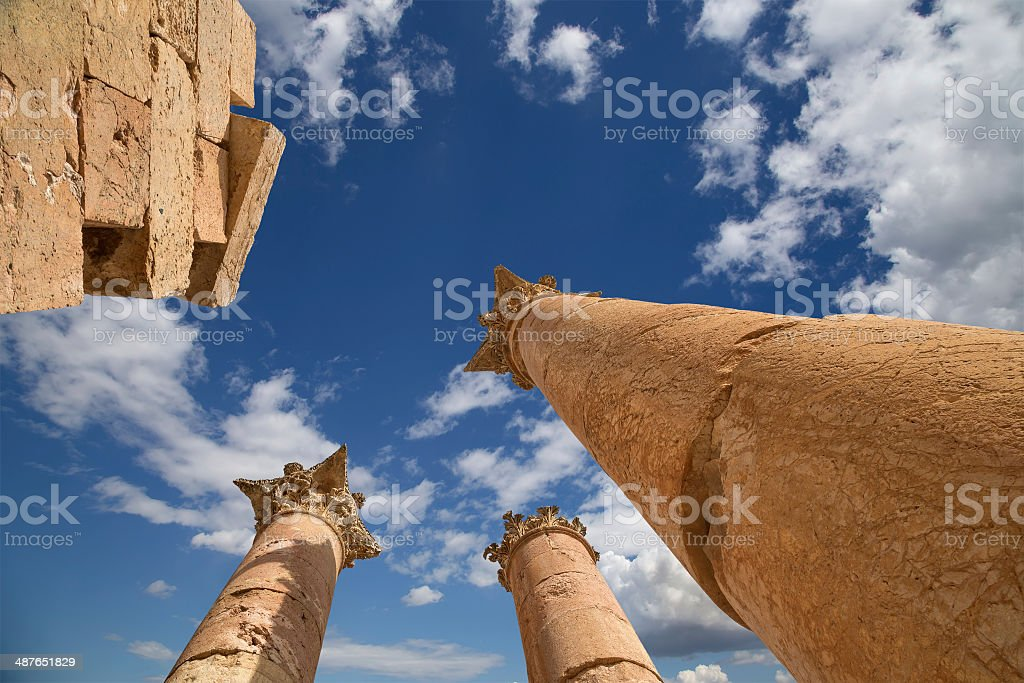 Roman Columns in in the Jordanian city of Jerash royalty-free stock photo