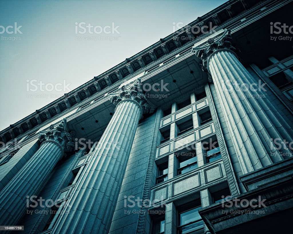 roman columns in japan building stock photo
