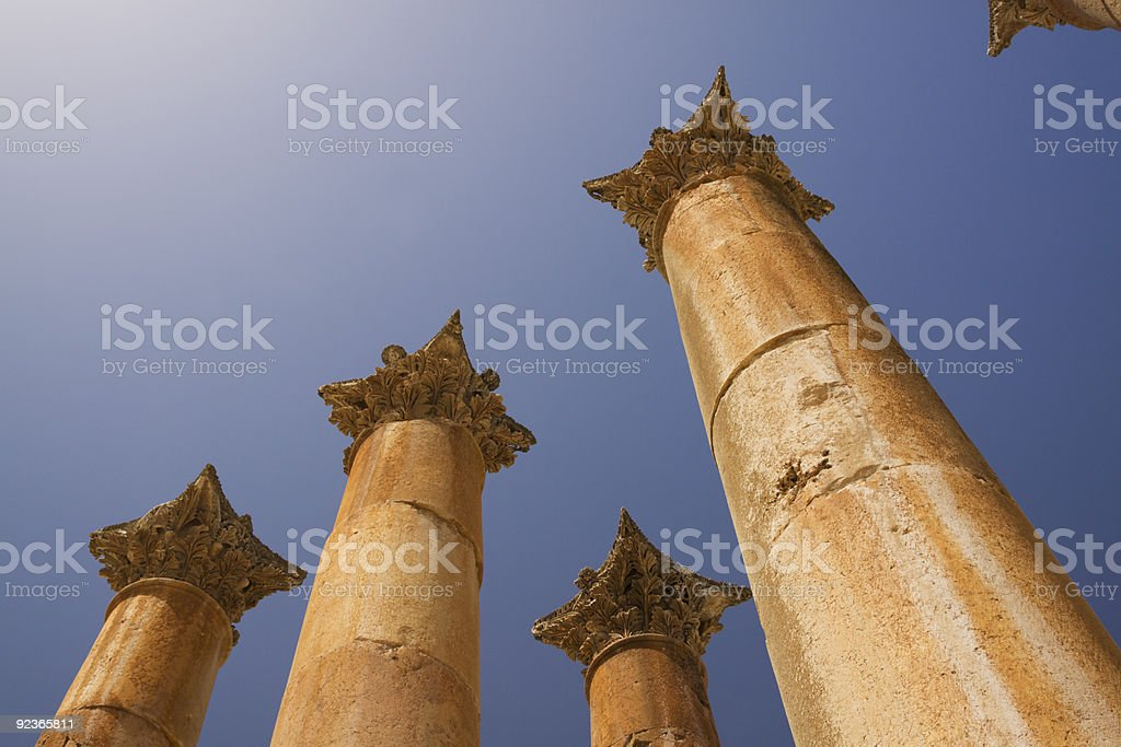 roman columns on a blue sky royalty-free stock photo