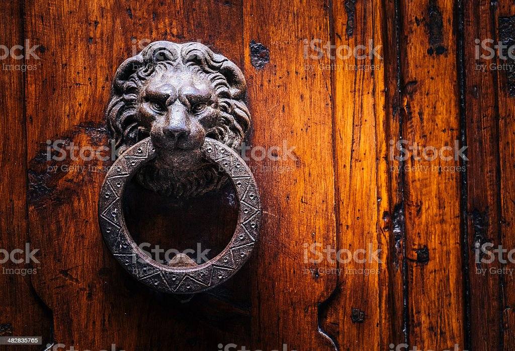 roman door lion stock photo