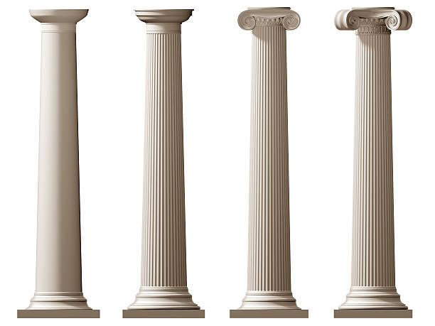 Roman Doric and Ionic columns stock photo