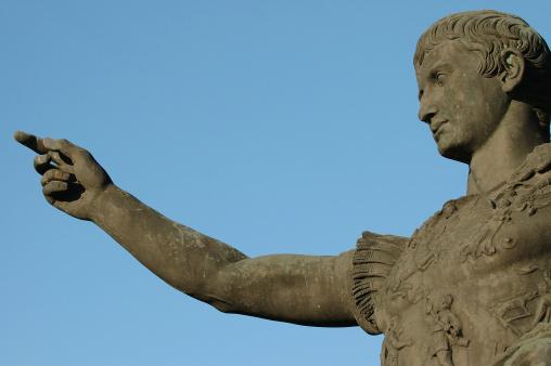 Roman emperor Caesar Augustus pointing finger