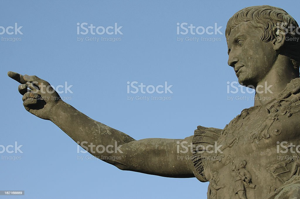 Roman emperor Caesar Augustus pointing finger stock photo