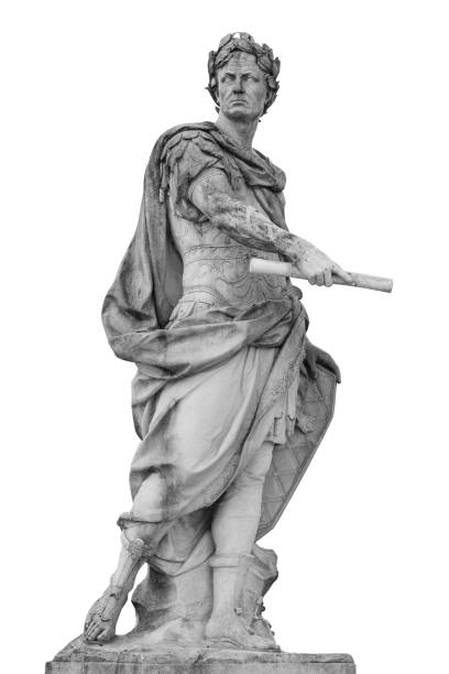roman emperor julius caesar statue isolated over white background - roman stock photos and pictures
